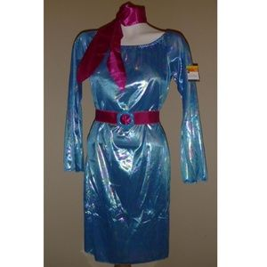 SIZZLIN Blue 60s 70s GO GO Party Dress costume 4/6